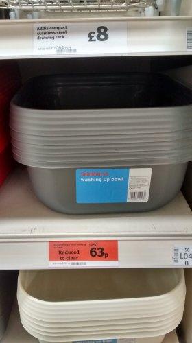 Washing up bowl now 63p @ Sainsburys was £2.50p