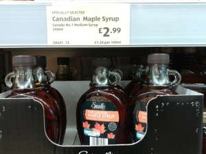 Pure Canadian Maple Syrup  250ml £2.99 @ Aldi (In Store)