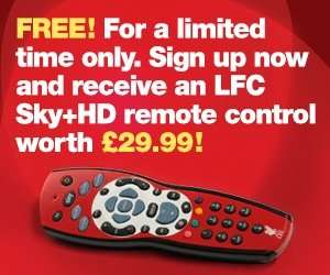 Free Liverpool FC Sky HD+ remote when you subscribe to new LFCHD channel for 1 month at £7