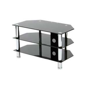 Poundstretcher - Glass TV Stand in black or clear glass - £24.99