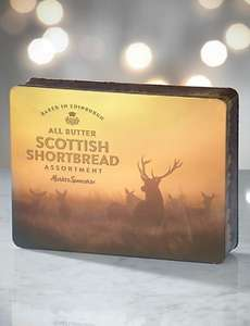 Marks and spencer all butter Scottish shortbread in a stag tin, 650g, £4.50 instore & online.