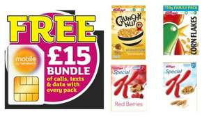Sainsburys deal with Kelloggs, Buy a box of kelloggs cereal and get FREE £15 Bundle, which includes a SIM card, 800 minutes, unlimited texts and 2GB of data FREE