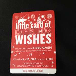 Bodyshop little card of Christmas wishes @ Glamour Magazine £2