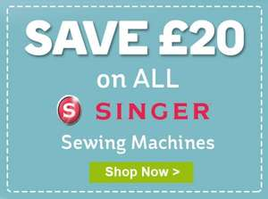 £20 off all Singer Sewing Machines + extra 20% off /w code + Free Delivery/Store collection + Possible 5-10% Quidco @ HobbyCraft
