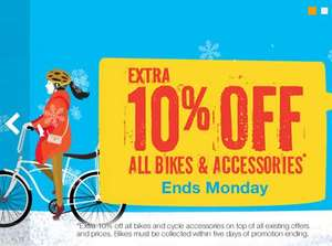 Extra 10% off bikes and accessories at Halfords ends Monday.