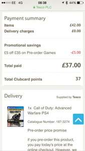 Call of Duty Advanced Warfare (DAY 1 EDITION) PS4 & Xbox One £37.00 delivered on release day from Tesco (code for new and existing customers)