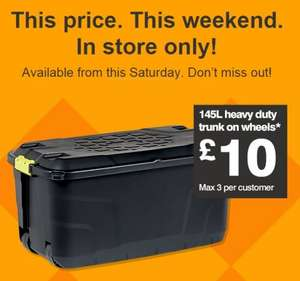 Strata Plastic Heavy Duty 145L Storage Box On Wheels @ B&Q - £10