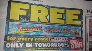FREE Sparklers voucher in tomorrow's Daily Star! Redeem at Tesco