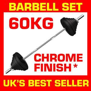 Barbell Set 60kg delivered for £54.99 @ puresourcenutrition2011 ebay