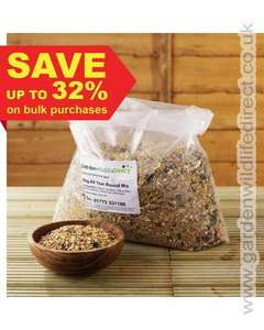 Wild bird seed mix £9.99 for 12.55 Kg delivered, or £17.99 for 26 Kg @ Garden Wildlife Direct