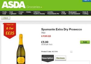 ASDA - Spumante Extra Dry Prosecco only £5 or 6 for £25!