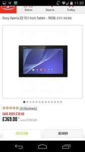 Sony Xperia Z2 Tablet £369 Possible £282 @ Argos