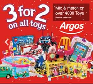 3 for 2 on all toys starting again this Wednesday 5th @ Argos
