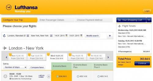 LONDON TO NEW YORK £363  @ Lufthansa