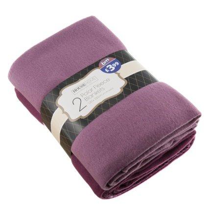Polar Fleece Throws - 2 Pack @ B&M Stores