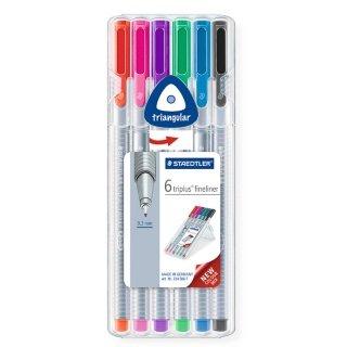 Staedtler Tri Plus Fine Liner 6 Pack - Pens @ B&M Stores