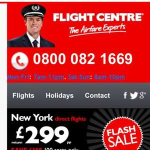 Heathrow/JFK £299 RETURN incl all taxes on British Airways  only @ Flight Centre
