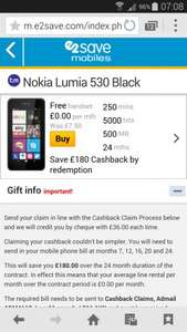 here is a strange one for you,  free Nokia Lumia 530 Black and free 24 line rental by redemption with Talkmobile @ e2save
