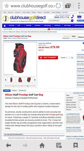 2014 Wilson Staff Prestige Golf Cart Bag £79.99 @ Clubhouse golf direct