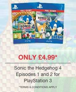 Sonic 4 EPISODES 1 and 2 for £4.99 for both @ game