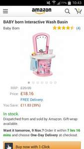 baby born sink £18.16 at Amazon