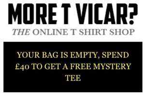 "Free mystery Tshirt when you spend £40+ at the Viz ""More Tea Vicar"" Tshirt & mug online shop"