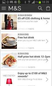 Free hot drink with Marks and Spencers app (purchase required) other offers too