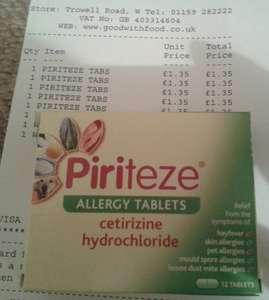 Piriteze Allergy Tablets (12's) £1.35 @ CO-OP WOLLATON NOTTINGHAM