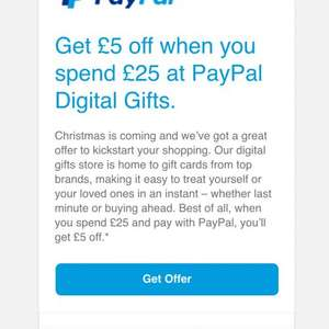 Get £5 off when you spend £25 at PayPal Digital Gifts.iTunes,Steam & more @ Paypal