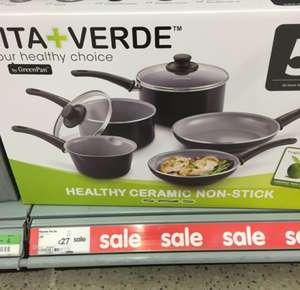 Vita + Verde 5 piece ceramic non- stick pan set £27 instore at Asda