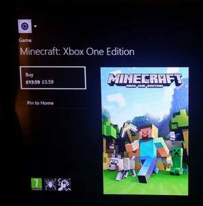 Minecraft Xbox one edition  £3.59 @ Xbox one /dashboard (Upgrade price when upgrading from Xbox 360 version)