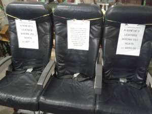 Three leather Boeing 757 seats. Includes three in flight magazines at Nichols Buildings (Sheffield) for £280
