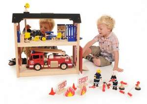 Pintoy Wooden Fire Station and accessories bundle £104.99 @ Kidsrooms
