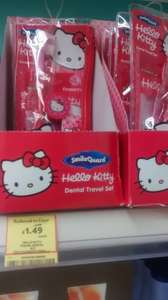 Hello Kitty Travel  Dental kit was £2.99 reduced to clear @ £1.75 but scanned 74p @  Tesco Walsall.