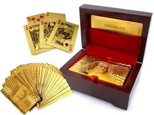 99.9% Pure 24K Gold Plated Playing Cards in Wooden Presentation Box - Full Poker Deck - £6.99 & FREE P&P @ Thinkprice (price was £29.99).