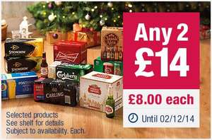 Two crates of beer for £14.00 at co-op
