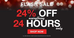 24% OFF EVERYTHING FOR 24 HOURS PEACOCKS