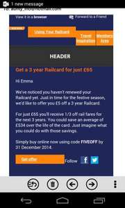£5 off 3year 16-25 Railcard £65