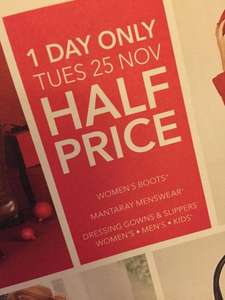 Half Prices slippers, dressing gowns, boots and clothing for one day @ Debenhams