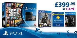 PlayStation 4 with Grand Theft Auto V Edition + The Last of Us Remastered download + Destiny Vanguard Edition + PS Plus 1 Year Subscription for £399.99 @ Game