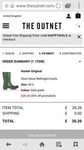 Hunter Short Gloss Wellies £26.26 delivered at the out net