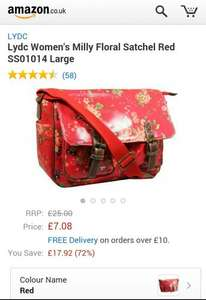 Amazon Lydc Women's Large Floral Satchel Milly in Red only £7.08  (free delivery £10 spend/prime)