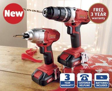18V Li-ion Drill and Driver Kit TWIN PACK 3 year Warranty £99.99 @ Aldi