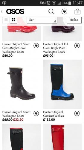 Hunter Wellies - less than 1/2 price £32.50 on ASOS