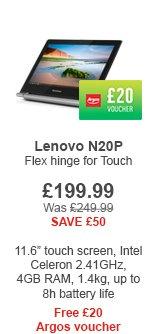 Lenovo Celeron 11.6 Inch Multimode Touch Chromebook. - £199.99 & £20 Argos Voucher @ Argos