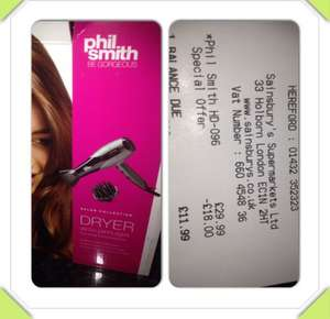 Phil Smith hair dryer £11.99 @ Sainsbury's instore