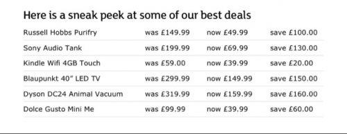 Sainsburys 'Best' Black Friday Deals