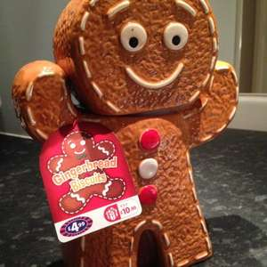 Gingerbread man cookie jar filled with biscuits - £4.99 from B&M stores