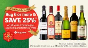 Save 25% when you buy 6 or more bottles of Wine or Champagne @ Sainsbury's