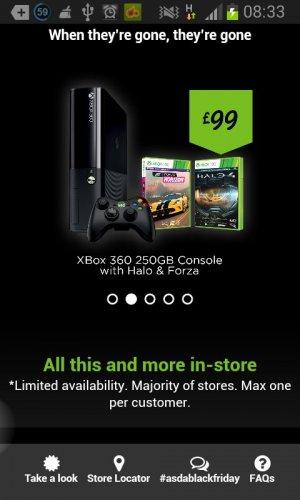 XBOX 360 250gb £99 in Asda with Forza Horizon & Halo 4